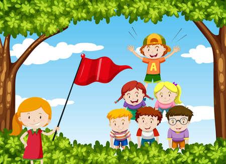 piramide humana: Los niños juegan pirámide humana en la ilustración parque