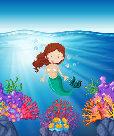 marine scene: Mermaid swimming in the sea illustration Illustration