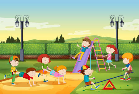 adolescent: Children playing in the park illustration