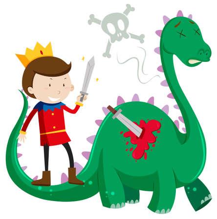 killing: Prince killing green dragon illustration Illustration