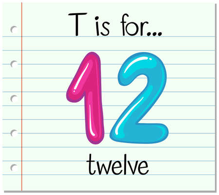 twelve: Flashcard letter T is for twelve illustration