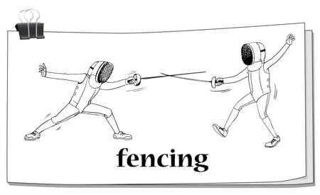fencing: Doodle of men doing fencing illustration Illustration