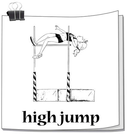 high jump: Woman doing high jump illustration Illustration