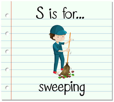 sweeping: Flashcard letter S is for sweeping illustration Illustration