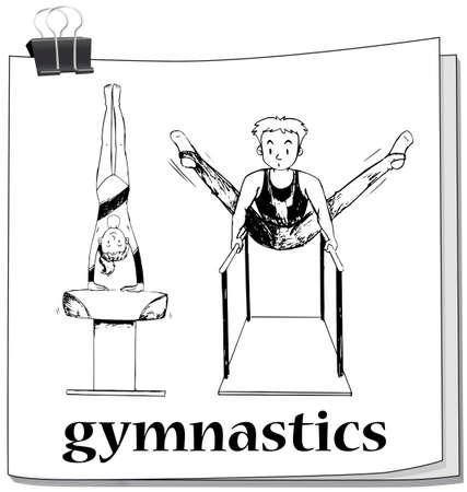 bocetos de personas: Doodle de la gente que hace la gimnasia ilustración