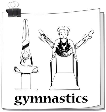 gymnastics: Doodle of people doing gymnastics illustration Illustration