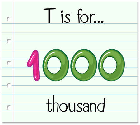 thousand: Flashcard letter T is for thousand illustration