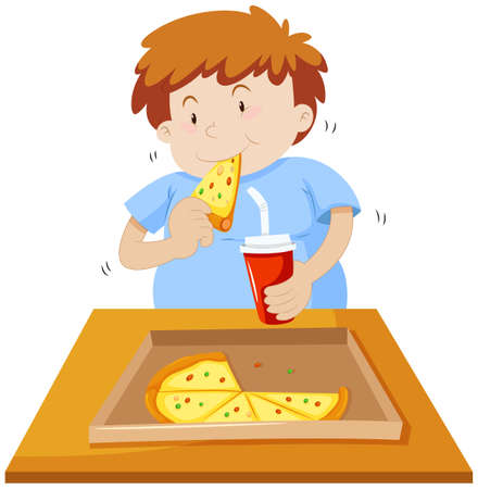 food and drink: Man eating pizza and drinking soda illustration