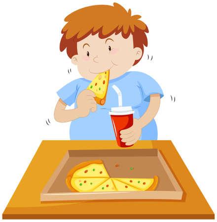 Man eten van pizza en het drinken van frisdrank illustratie Vector Illustratie