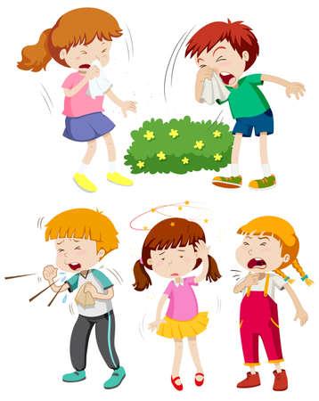 niños enfermos: Niños que se ilustración frío y fiebre