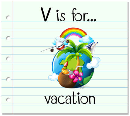 planet earth: Flashcard letter V is for vacation illustration Illustration