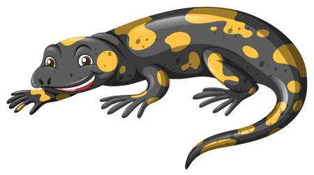 carnivorous animals: Lizard with black and yellow skin illustration Illustration