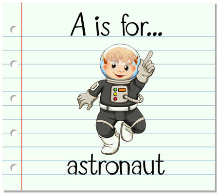 Flashcard letter A is for astronaut illustration