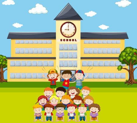 piramide humana: Los ni�os hacen pir�mide humana en la ilustraci�n de la escuela
