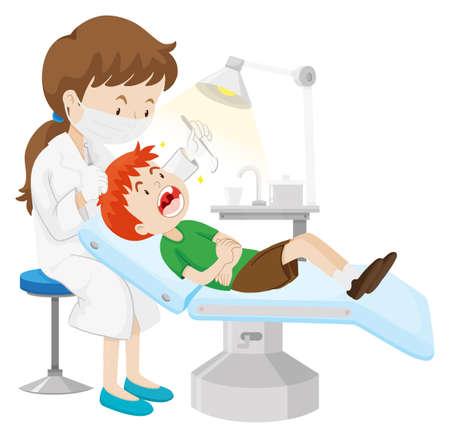 歯歯医者イラストによるチェックを持つ少年