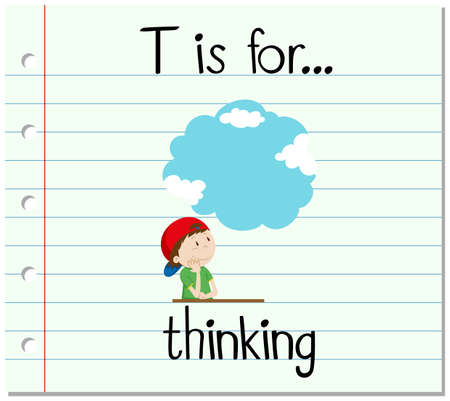 Flashcard letter T is for thinking illustration