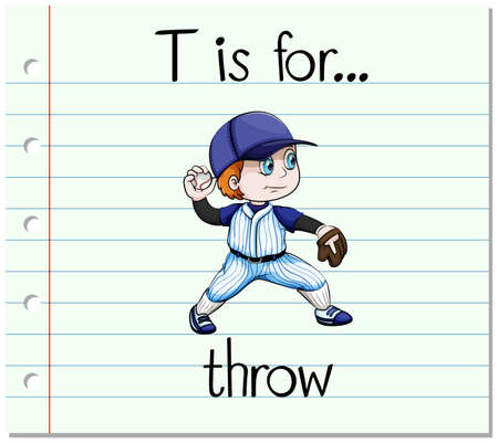 Flashcard letter T is for throw illustration