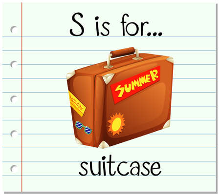 writing equipment: Flashcard letter S is for suitcase illustration