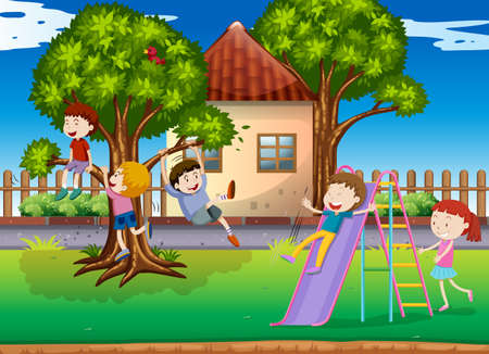 playtime: Children playing slide in the playground illustration Illustration