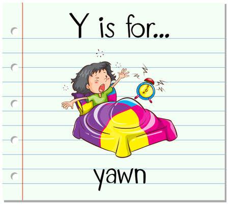 yawn: Flashcard letter Y is for yawn illustration Illustration