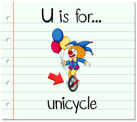 unicycle: Flashcard letter U is for unicycle illustration