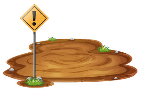 quicksand: Scene with quicksand and warning sign illustration