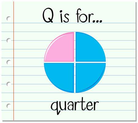 quarters: Flashcard letter Q is for quarter illustration