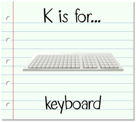 technolgy: Flashcard letter K is for keyboard illustration