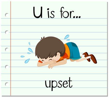 letter u: Flashcard letter U is for upset illustration
