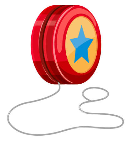 Red yo-yo with white string illustration Ilustração