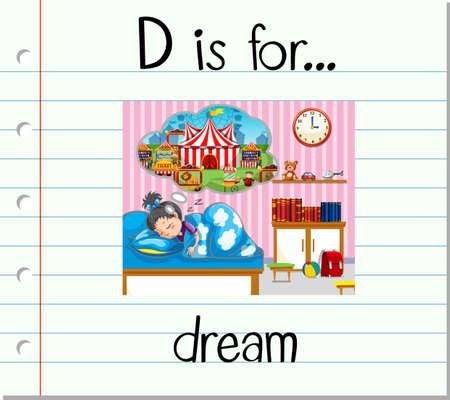 for a dream: Flashcard letter D is for dream illustration Illustration