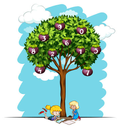two child: Girls reading under tree with numbers illustration