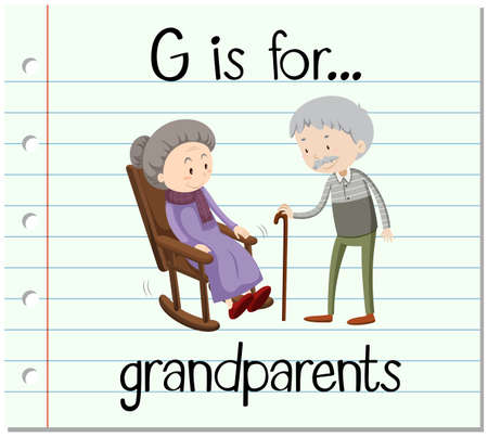 old people reading: Flashcard letter G is for grandparents illustration Illustration