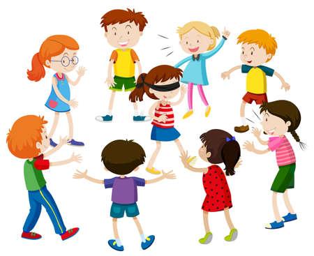folded: Kids playing blind folded illustration