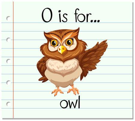 flash card: Flashcard letter O is for owl illustration