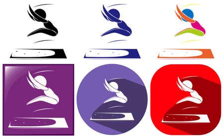 salto de longitud: Iconos del deporte de athelte haciendo larga la ilustración salto Vectores