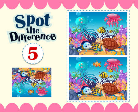 Game template of spot the difference underwater illustration
