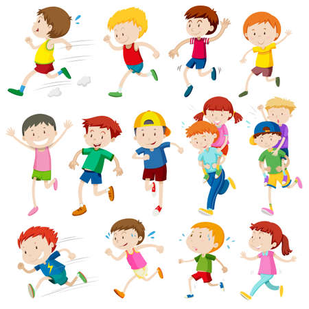 Simple characters of kids running illustration Vectores