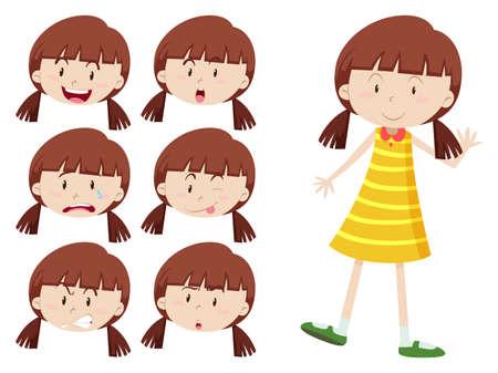 expresiones faciales: Chica con muchas expresiones faciales ilustración