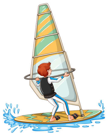 windsurf: Man sailing on windsurf illustration