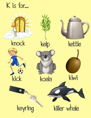 Many words begin with letter K illustration