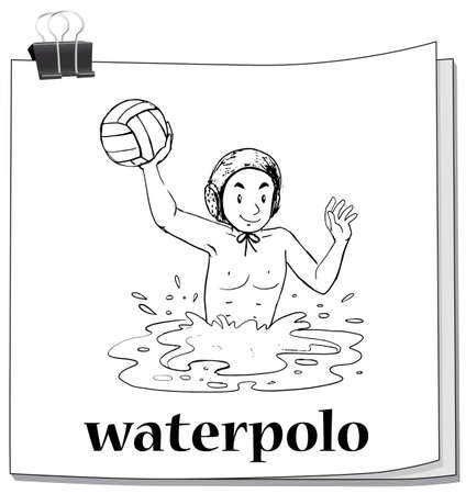 waterpolo: Doodle man playing waterpolo illustration