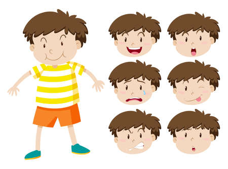 sad: Little boy with many facial expressions illustration