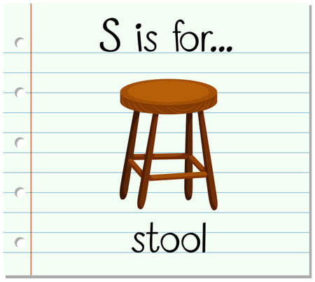 writing chair: Flashcard letter S is for stool illustration Illustration
