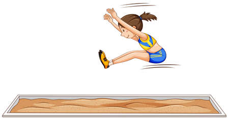 Woman athlete doing long jump illustration Illustration