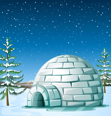 snowing: Scene with igloo on snowing day illustration