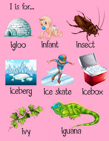 icebox: Many words begin with letter I illustration