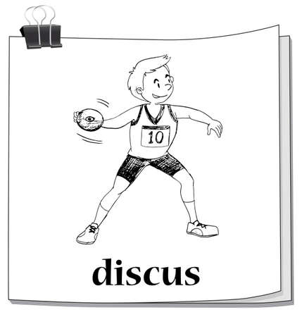 discus: Doodle of man doing discus illustration