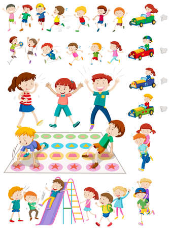 back exercise: Children characters playing games illustration