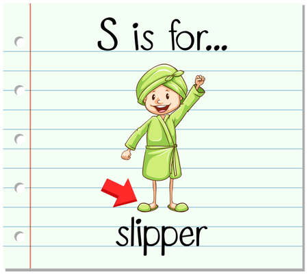 フラッシュ カードの文字 S はスリッパの図を